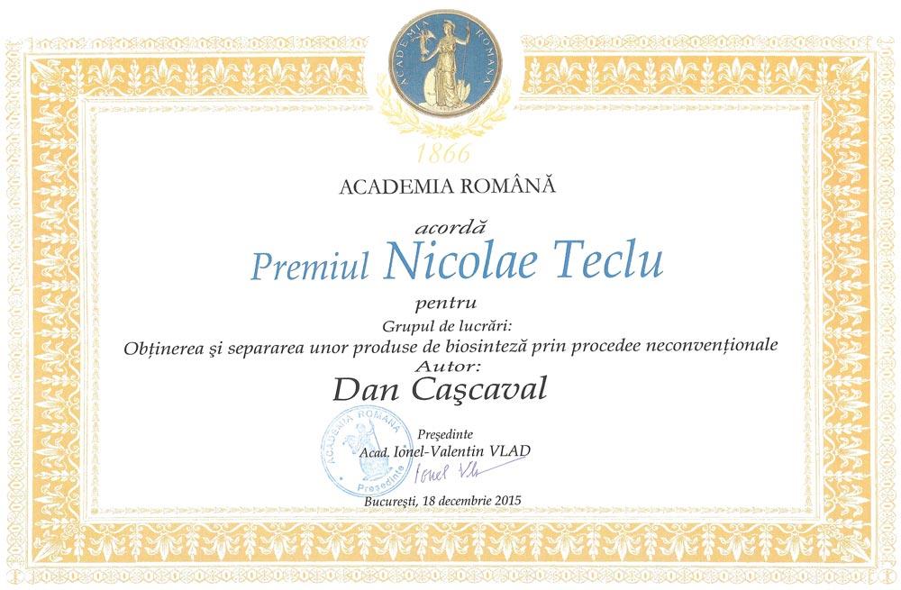 "Premiul Academiei Române ""Nicolae Teclu"" - Dan Cașcaval"